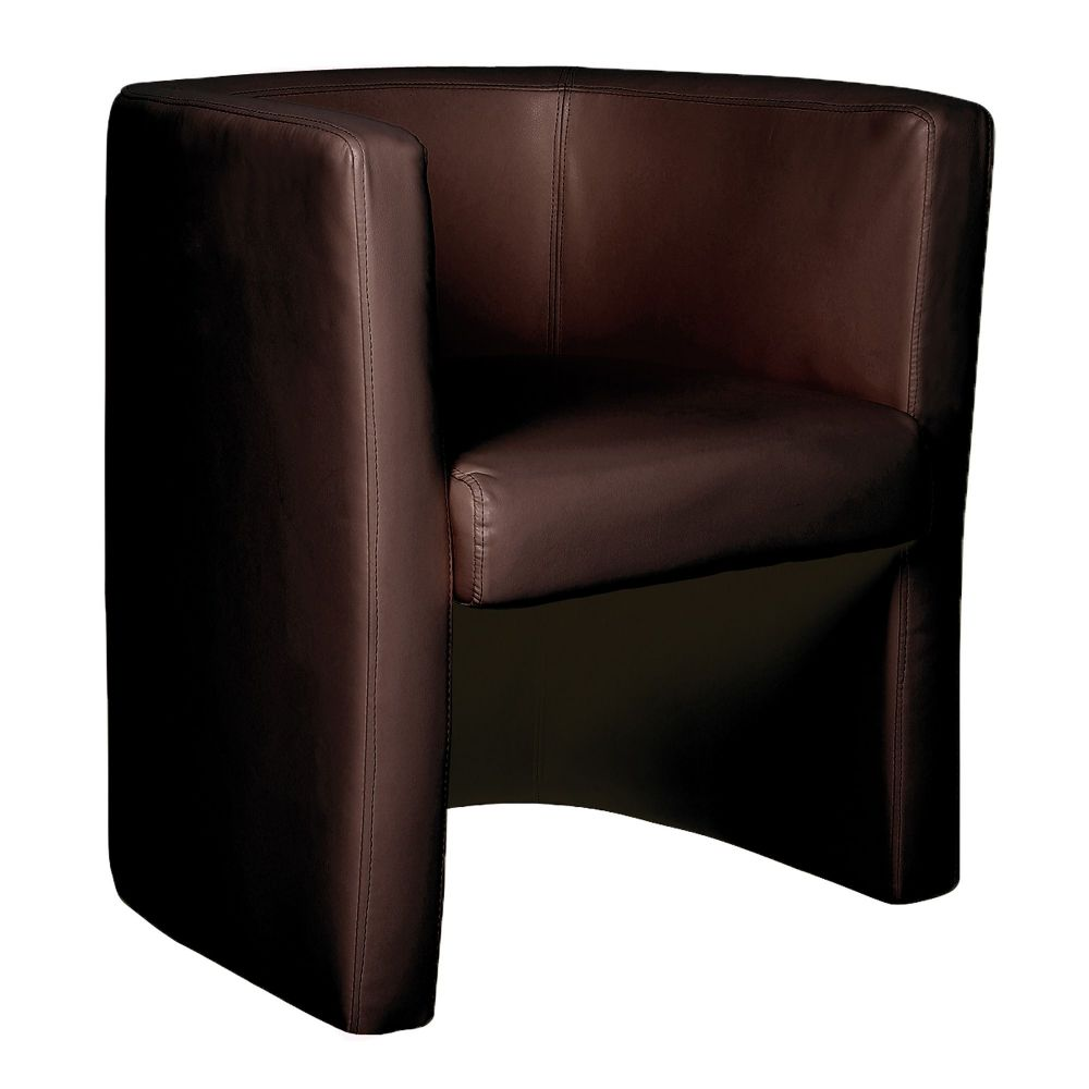Milano Single Tub Chair Fully Upholstered in Chocolate Brown Leather Effect